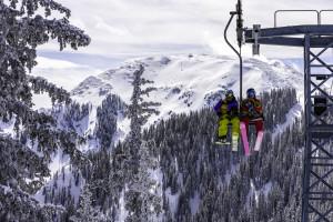 Josh Daiek, Andrea Krejci skiing at Taos